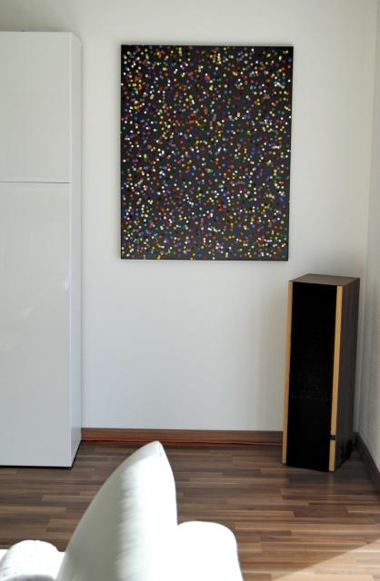 astridstoeppel.com, modern, modern living, art for collector, gallery, german artist, exhibition, colorful artworks, Acrylbilder, schwarz, grau, bunt, dots, black, series colorful acrylics