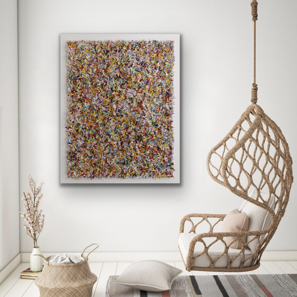 this artwork is part of the series paperwork by Astrid Stoeppel, a german abstract and contemporary artist. colorful paper snippets are fixed on large canvas, a unique and amazing sculpture to color up the wall with modern art